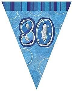 Unique Party- Banderines cumpleaños, Color azul, edad 80 (92088)