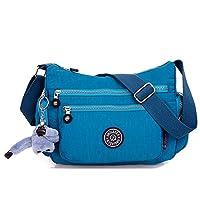 Fancybox Women Handbag Hobo Shoulder CrossBody Messenger Tote Bag Waterproof Multi-pocket with Monkey Key-Hanger (Ocean blue)