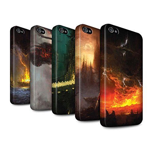 Offiziell Chris Cold Hülle / Matte Snap-On Case für Apple iPhone 4/4S / Schiffswrack Muster / Gefallene Erde Kollektion Pack 8pcs
