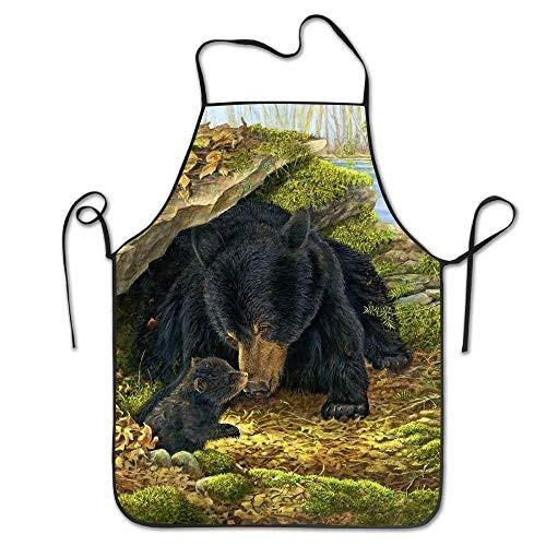 SPHGdiy Black Bears Art Deluxe Personalized Kitchen Apron -