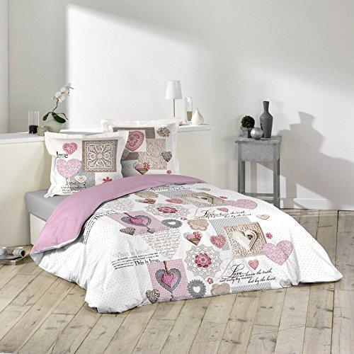 Newsbenessere.com 51OY6hw7GJL Douceur d'Intérieur, 1641215, Set da 3 pezzi di biancheria da letto in cotone, motivo: Monségur, 240 x 220 cm
