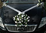 SPITZE STRAUß Auto Schmuck Braut Paar Rose Deko Dekoration Autoschmuck Hochzeit Car Auto Wedding Deko PKW (Reinweiss 3)