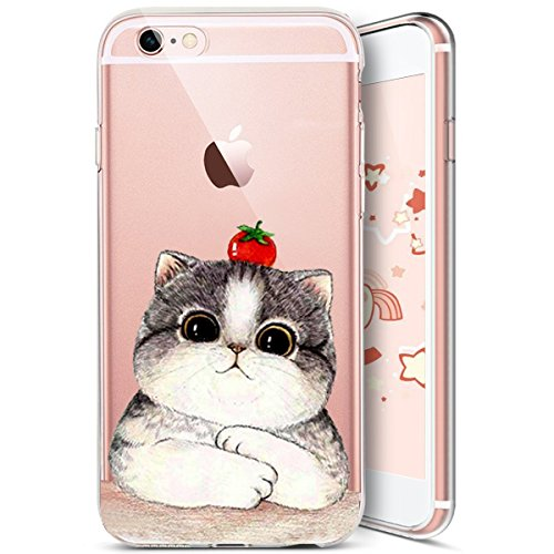 iPhone 7 Plus Coque,iPhone 8 Plus Coque,Etsue Coque en Silicone Étui Housse de Protection TPU [ Liquid Crystal ] Chat Motif Transparent Clear View Chat Marrant Case Gel Souple Coque Ultra Mince Léger  Chat 3#
