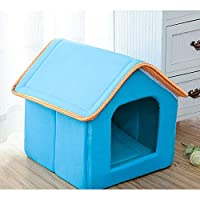 AIMMMY Pet House, Igloo Bed Detachable Foldable Cosy Dog Kennel with Non-Slip Warm Washable 43×37×43Cm,Blue