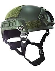Worldshopping4U estilo MICH 2001combatir casco protector con carril lateral y montaje NVG (color verde) para Airsoft táctico militar deportes Paintball caza