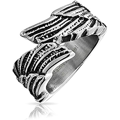 Bling Jewelry Unisex piuma di angelo anello della fascia dell'acciaio inossidabile