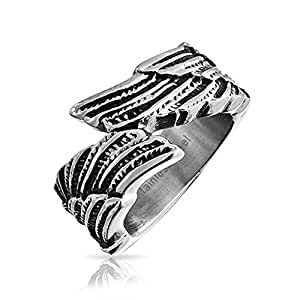 Bling Jewelry Unisex Feather Angel Wing Ring Stainless Steel Band