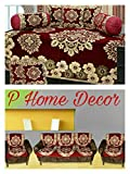 #9: P Home Decor Combo of Floral Design Diwan Set and Sofa Cover Set, Maroon