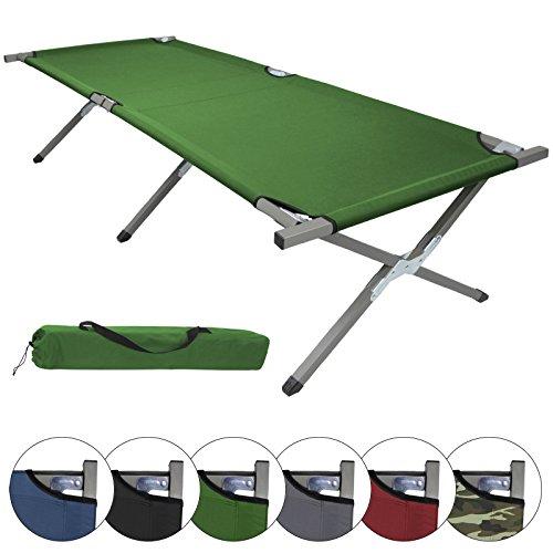 BB Sport Feldbett XXL 200 x 70 x 52 cm stabiles Campingbett mit Stahlrohr verstärkt bis 150 kg belastbar, Farbe:grün