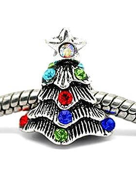 Charm Buddy 3D Kristall Weihnachtsbaum/Charms Bead Für Silber Charm-Armbänder Schmuck