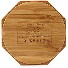 Wireless Charger Bamboo, Auswaur Qi Wireless Charging Pad Stand for iPhone 8/8 Plus/X, Samsung Galaxy Note 8/S8/S8+/S8 Plus/S7/S7 Edge and all Qi-Enabled Devices (Octagon)