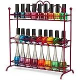 Diseño de corazón 3pisos mesa Salon esmalte de uñas esmalte de uñas metal Display Rack soporte de pantalla rosa