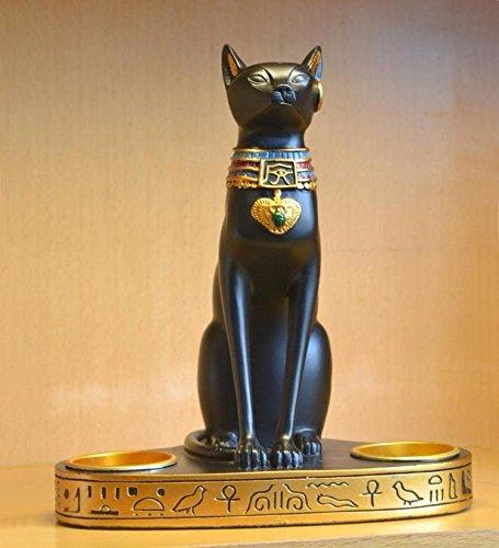Dual egipcio gato dios de velas resina artesanía adornos creativos re