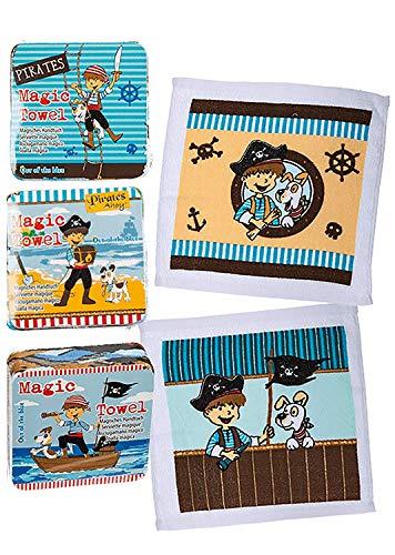 Kamaca 10 er Set Magische Handtücher ca. 30 x 30 cm mit wundervollen Motiven aus 100% Baumwolle (10er Set (= 10 Stück) Piraten)