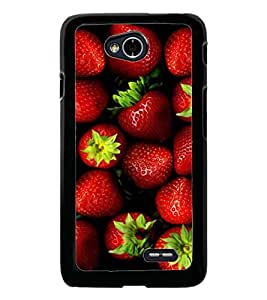 PrintDhaba Strawberries D-4336 Back Case Cover for LG L90 (Multi-Coloured)