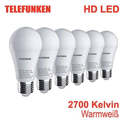 "Telefunken – HD LED Lampe | E27 | Leuchtmittel 6er Set | warm weißes Licht | A+ | 10W | 806 Lumen | 2700 Kelvin | Ra>90 | 60x120mm (DxH)"" border=""0″ width=""400″ class=""img-rounded img-responsive"" /></a> </div> <div class="