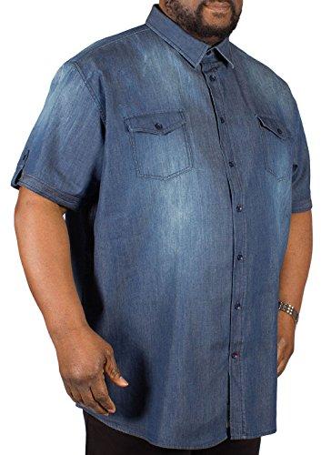 D555 Herren Blusen Freizeit-Hemd blau blau Blau