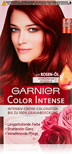 Garnier Color Intense, 6.60 Intensivrot / Dauerhafte Intensive Creme Coloration für permanente Haarfarbe (mit Perlmutt und Traubenkernöl) 3 x 1 Stück - Rotes Haar Creme