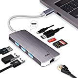EKSA USB C Hub 8 in 1 Multiports, Aluminium USB C Adapter mit Gigabit Ethernet Adapter / 4K HDMI Ausgang/Typ C Ladeanschluss / 3 * USB 3.0 Ports/SD & Micro SD Kartenleser(8 IN 1 L)