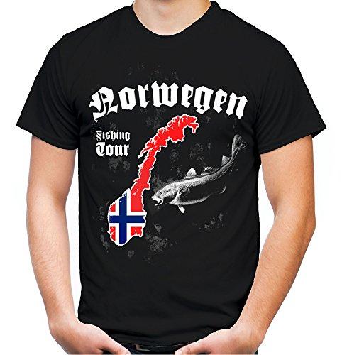 r Männer und Herren T-Shirt | Angler Petri Heil Geschenke Fishing (Schwarz, XXL) ()