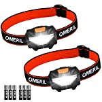 OMERIL LED Head Torch, [2 Pack] Super Bright Headlamps with 3 Modes, 150 Lumens, Lightweight COB Head Lights for Kids Running Walking Camping Fishing, Car Repair, DIY- 6*Batteries Included
