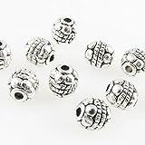 10 Metallperlen Metall Perlen 6mm Rondelle silberfarben Beads -1635
