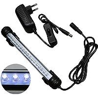 MingDak Kit éclairage LED pour aquarium, lampe tube barre en cristal étanche adapté pour l'aquarium d'eau de mer et d'eau douce, 18 LEDs, 7,5 pouces, éclairage blanc