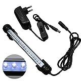 mingdak Kit iluminación LED para Acuario, lámpara tubo barra en cristal impermeable adaptado para el acuario de agua de mar y de agua dulce, 18LEDs, 7,5pulgadas, iluminación color blanco