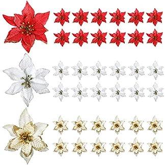 WILLBOND 45 Piezas Decoraciones Navideñas de Flor de Pascua Brillo Flores Artificiales de Navidad para Adornos de Árbol de Navidad, 5 Pulgadas