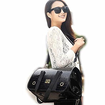 B-JOY Black Crocodile Leather Dog Carriers Bag Pet Totes Purse Puppy Handbag Cat Cage Doggy Pouch (L(51cm*22cm*29cm… 1