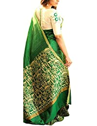 Aarvicouture Sarees Women's Bhagalpuri Art Silk Partywear Saree With Designer Blouse Piece (Bl_Yellow Pink Crekal_Bollywood_Yellow...