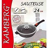 Kamberg - 0008026 - Sauteuse 24 cm - Manche Amovible - Fonte d'Aluminium - Revêtement type pierre - Couvercle en verre - Tous feux dont induction - Sans PFOA