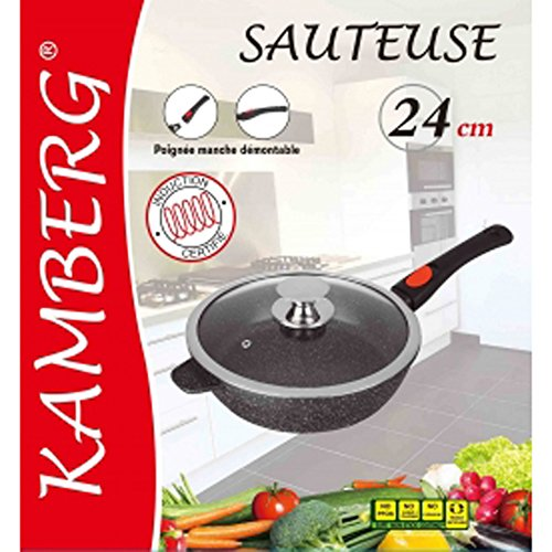 Kamberg - 0008026 - Sartén Profunda 24 cm - Mango Extraíble - Aluminio Fundido - Revestimiento Piedra...