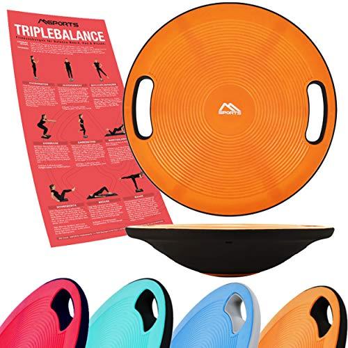 MSPORTS Balance Board Premium 40 cm Durchmesser inkl. Übungsposter - Therapiekreisel Physiotherapie Wackelbrett (Orange)