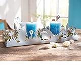 PureDay Dekotablett Hasenfamilie - Kerzentablett aus Metall - Weiß - Breite ca. 40 cm