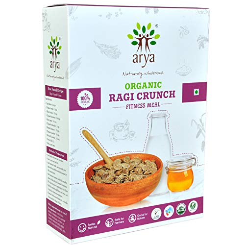Arya Farm Certified Organic Fitness Meal Without Chemicals and Pesticides Ragi Crunch (Flakes), 300g Breakfast Cereal Without Added Sugar and Preservatives
