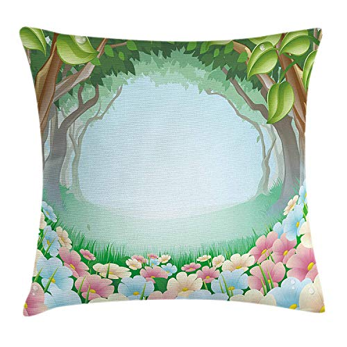 Fantasy Throw Pillow Cushion Cover, Dreamy Woodland with Soft Tone Floral Path Forest Pastoral Spring Season Kids World, Decorative Square Accent Pillow Case, 24 X 24 Inches, Multicolor