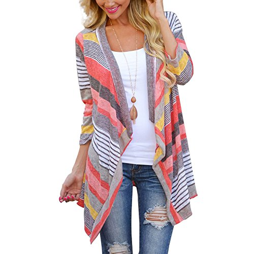 Womens Boho Knit Cardigan Shawl Floral Irregular Stripe Casual Poncho Tunic Tops Coat Cover Up Blouse