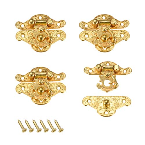ZCHXD 4 Sets Wood Case Chest Box Rectangle Clasp Closure Hasp Latches Gold Tone 37 x 28mm (Vintage Chest Latch)