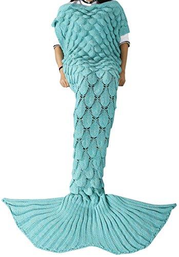 YiZYiF Meerjungfrau Decke, Handgemachte häkeln Tagesdecke Kuscheldecke decke für Kinder und Erwachsene, Mermaid Blanket alle Jahreszeiten Schlafsack (Erwachsene, Mint Grün)