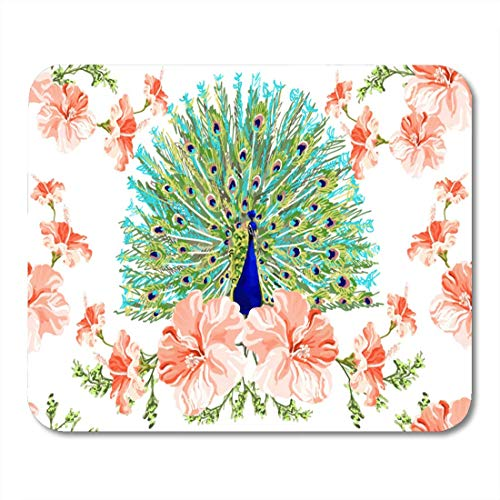 Deglogse Gaming-Mauspad-Matte, Blue Animal Beautiful Floral with Peacock Exotic Spring Flowers Boho Style Object Perfect for Colorful Mouse Pad (Hälfte Slip Schwarzen)
