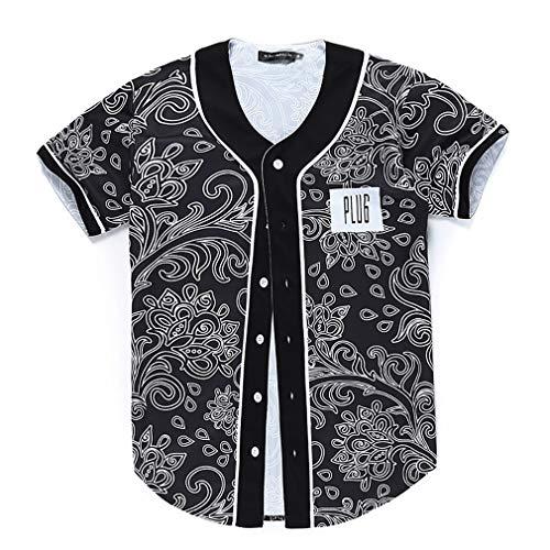 XIUFANG Männer 3D Digital Druck T-Shirts Cool Neuheit Komisch Mode Kreativ Original Einfach Lose Baseball-Trikot Lässig Sommer Kurzarm Rundhalsausschnitt Top Tees zum Jugendliche,A,XL -