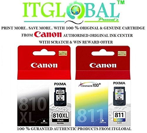 Canon 810 XL & 811 Combo Ink Cartridge [Set of 2 Cartridge] -Special ITGLOBAL Combo With Scratch & Win Offer ( PG 810XL & CL 811 ) Black & Color  available at amazon for Rs.3703