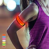Lesypet Sicherheit LED Armband Nacht Spazieren Fahrrad Jogging Reflektierende Armband Wasserdicht Einstellbare Blink Visible Outdoor-Enthusiasten Beleuchtung Hip-Hop Performance Props Concert Lighting, Rot
