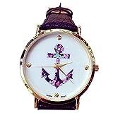 Minetom Vintage Blume Damen Armbanduhr Basel-Stil Quarzuhr Lederarmband Anker Leather Quarz uhr Uhr Top Watch-Schwarz