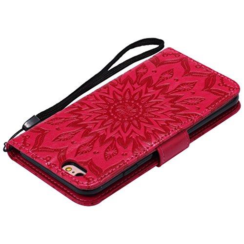 Crisant 3D Geprägte Sonne Drucken Design schutzhülle für Apple iPhone 6 6S 4.7'' (4,7''),PU Leder Wallet Handytasche Flip Case Cover Etui Schutz Tasche mit Integrierten Card Kartensteckplätzen und Stä rot