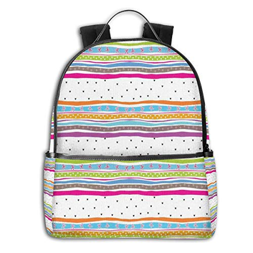 College School Backpacks,Abstract Wavy Stripes Polkadots Ribbons Bows and Hearts Girly Patterned Artwork,Casual Hiking Travel Daypack Stripe Ribbon Strap