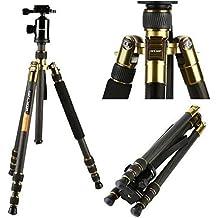 K&F Concept - Trípode TC2534 Trípodes para Cámaras Reflex de Fibra Carbono (Monopod Desmontable, Cabeza de Bola) Trípode Viaje para Panasonic Canon Nikon DSLR Cámaras y DV, Altura: 168cm y Carga: 12KG