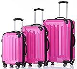 BEIBYE Hartschalen Koffer Trolley Rollkoffer Reisekoffer 4 Zwillingsrollen Polycabonat (Pink, Kofferset)