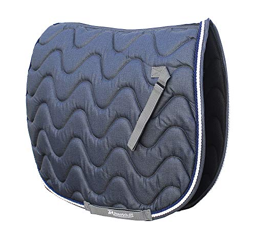 Rhinegold Gepolsterte Satteldecke, wellenförmig gesteppt, für Pferd oder Pony, verschiedene Farben und Größen, denim-blau